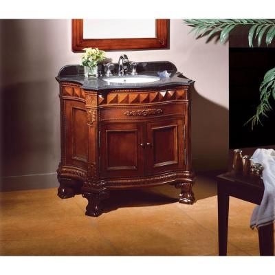 OVE Decors Buckingham 36 in Vanity in Dark Cherry with Granite