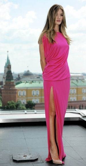 Such a glamorous pink dress.