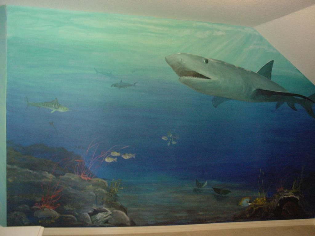 ocean painted wall mural | ocean theme mural provided by Melissa Barrett  Paint Design Wall Murals
