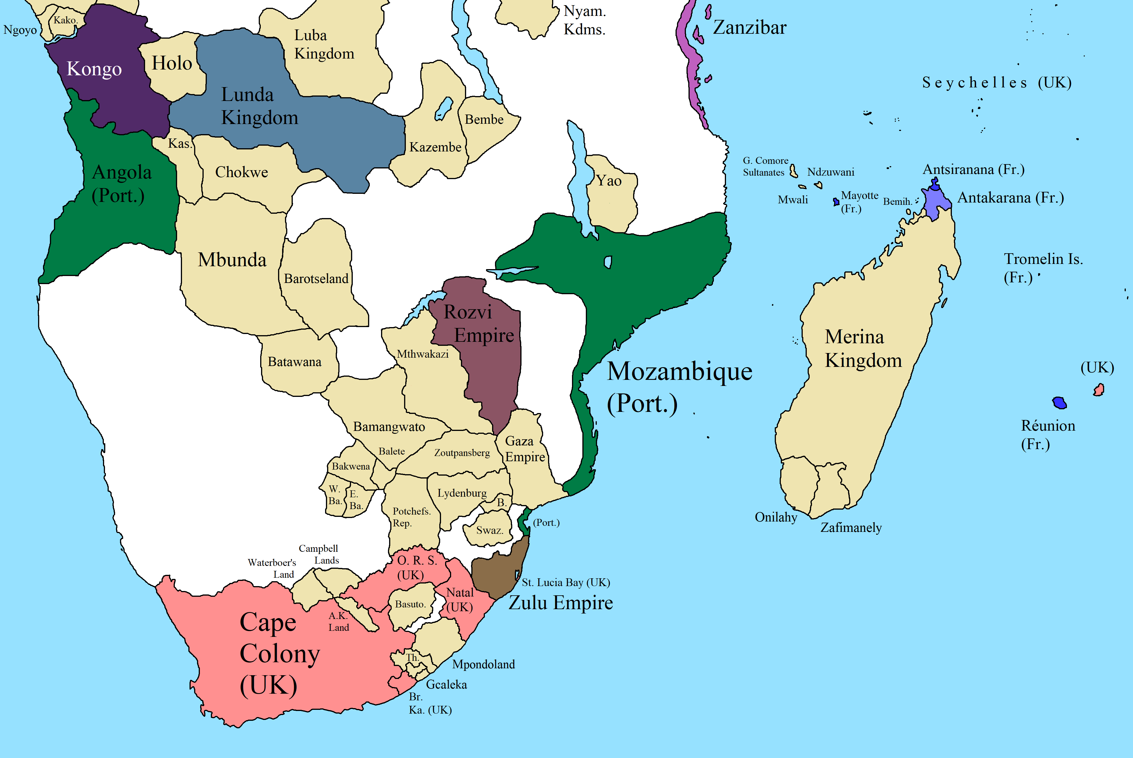 Map of Southern Africa in 1850   Map, Africa, Southern