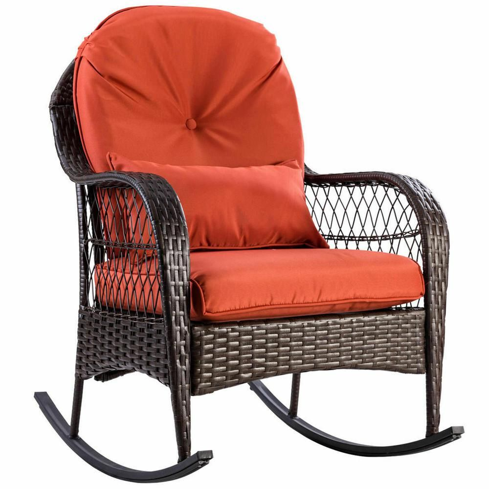 Costway Rattan Wicker Outdoor Patio Porch Deck Rocker Rocking Chair Furniture With Red Cushions Hw57256 The Home Depot In 2020 Outdoor Wicker Rocking Chairs Wicker Rocking Chair Patio Rocking Chairs