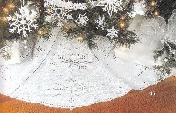 Snowflake Christmas Tree Skirt Crochet Pattern White In Thread