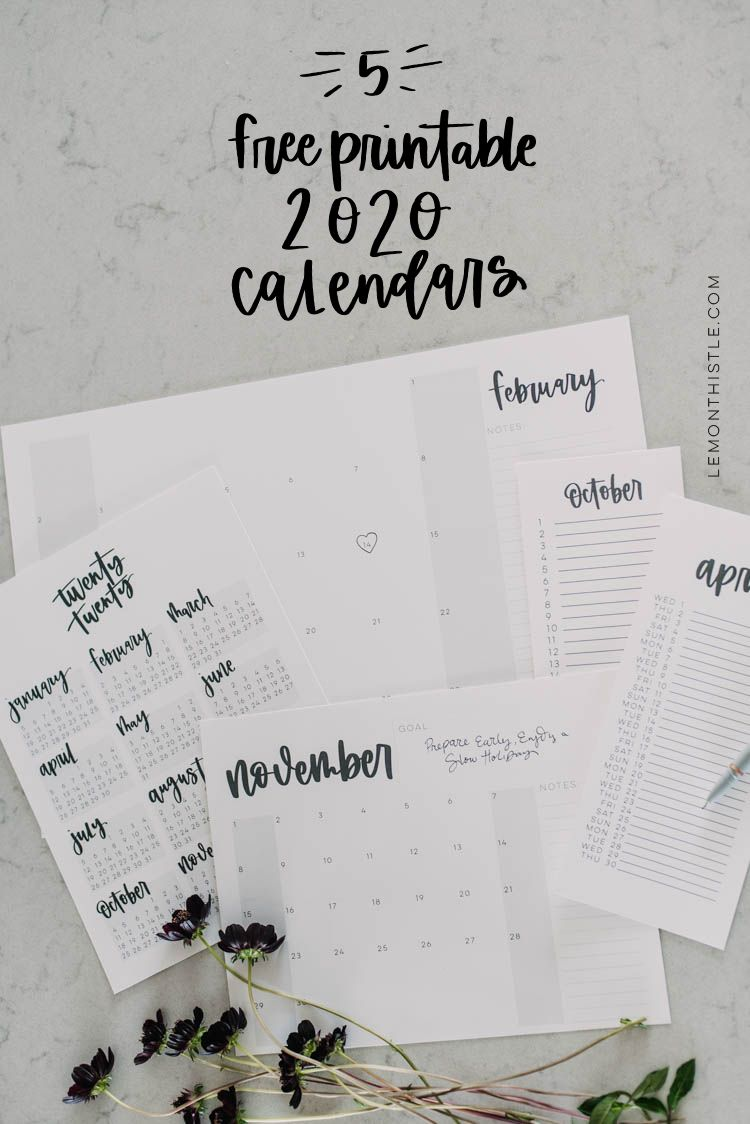 Free Printable 2020 Calendars Are Here! (5 Formats is part of Free printable calendar, Monthly calendar printable, Calender printables, Calendar printables, Free calendar, Calendar download - Free Printable 2020 Calendars are here! With minimalistic style, modern hand lettering and five different formats, these calendars are perfect for planning your year to come