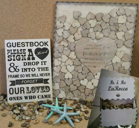 200 Guest Wedding Book Sign And Drop In Frame Alternate Guestbook Shadow Box Heart For Up To Weddings