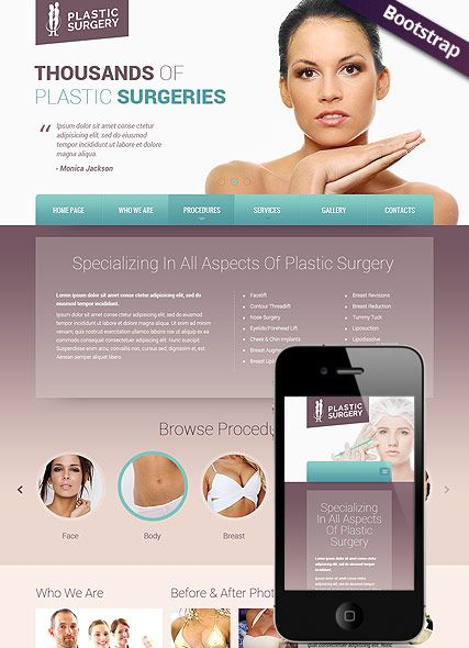 Plastic Surgery Website Template Bootstrap Mobile Responsive