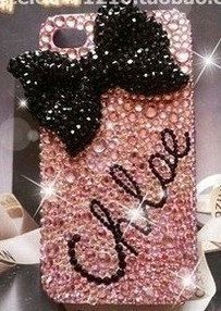 low priced 3ae58 535d9 Personalized iPhone 5C Case, Baby Pink Crystal Black bow initial ...