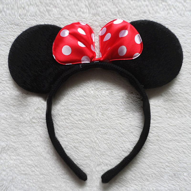 Disney Parks Bow Red Spots Mickey Minnie Mouse Ears Party Festival Cos Headband