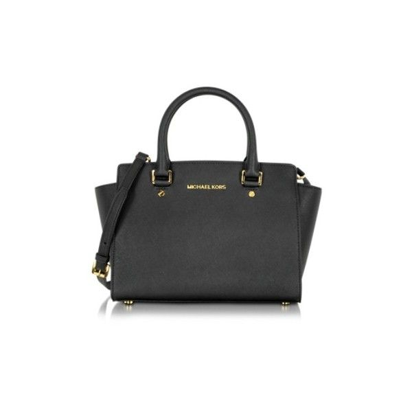 417a6d63bbafa Michael Kors Handbags Selma Medium Saffiano Leather Top-Zip Satchel ($410)  ❤ liked on Polyvore featuring bags, handbags, black, black hand bags, ...