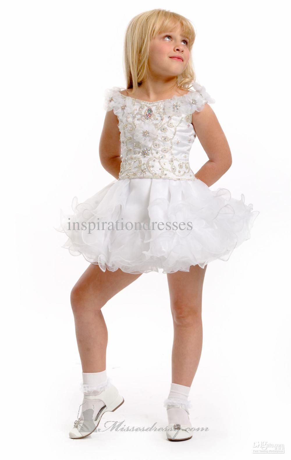 Buy Knee Length Ball Gown Bateau Kids Pageant Dress Online From