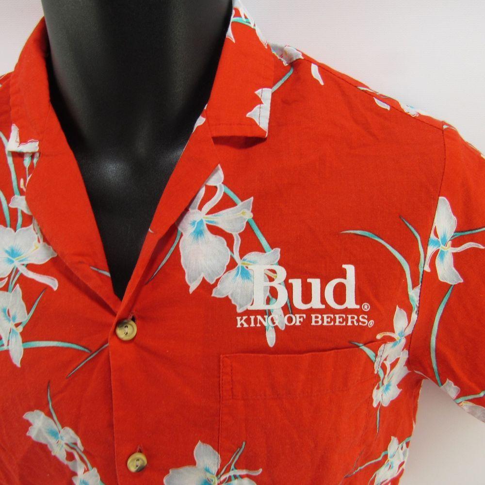 2031bf688 Vintage Budweiser Hawaiian Shirt S Hawaii Red Small Bud King of Beers  Hibiscus #Malihini #Hawaiian