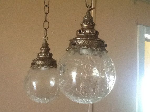 Antique Vintage Hanging Light Fixture 2 Cracked Glass Globes Etsy Hanging Lights Hanging Light Fixtures Glass Globe