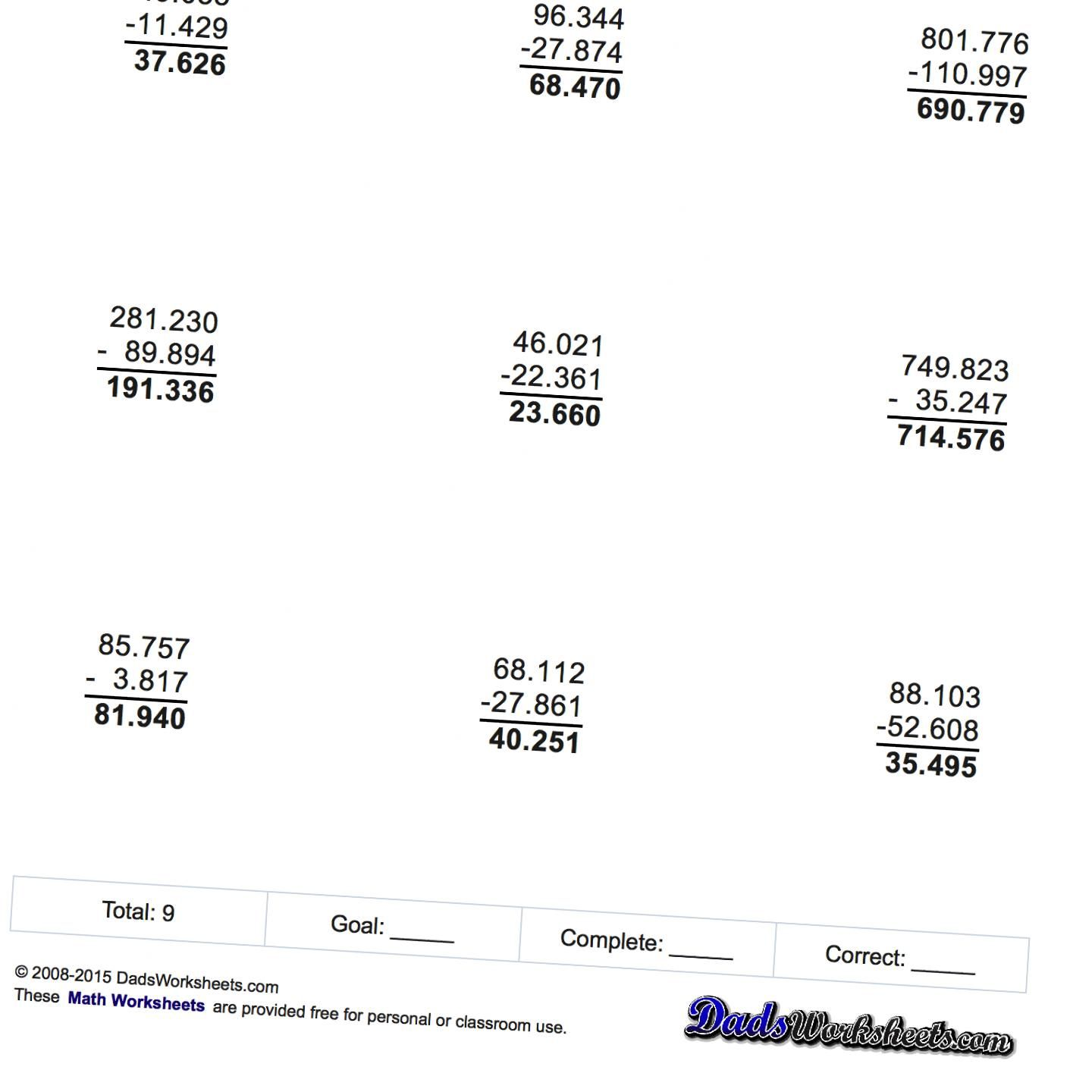 Try These Subtraction Worksheets With Decimals Visit
