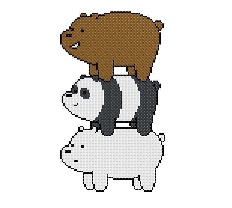 We Bare Bears Cross Stitch Pattern Bear Stack | Bare bear ...