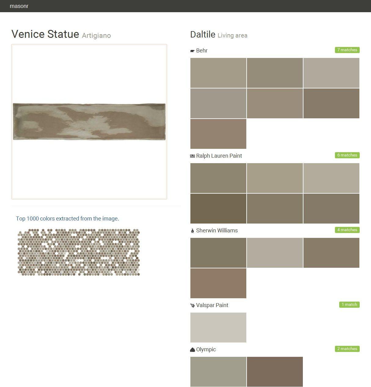 Ich Habe Diese Farben Mit Colorsnap Visualizer Für Iphone: Venice Statue. Artigiano. Living Area. Daltile. Behr