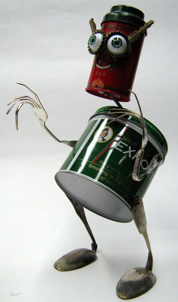 Recycling RUSTY ROBOT SCULPTURE Thinking Of You von BranMixArt