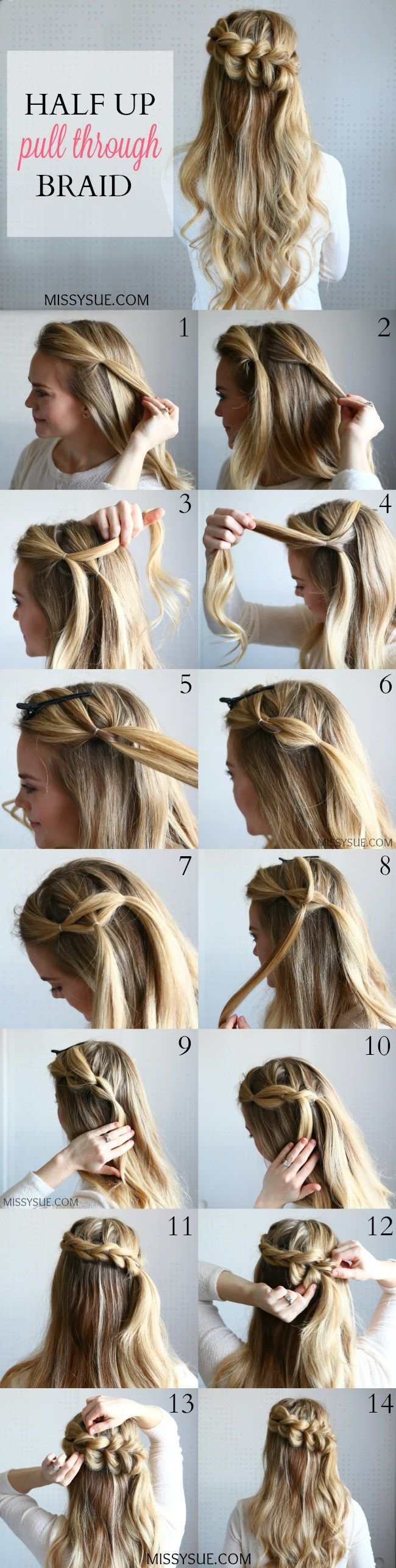 Half up pull through braid missy sue easy up hair pinterest