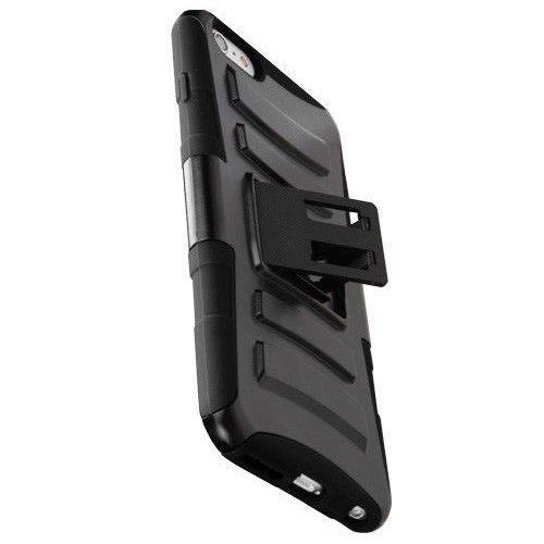 IPHONE 6 PLUS (5.5),BLACK HYBRID BELT CLIP HOLSTER COMBO PLASTIC CASE W/STAND