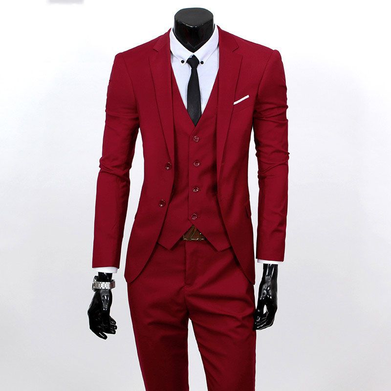 New European and American men s business casual Slim solid color suits  three   sets large size (S-6XL) (jacket + pants + vest)  Affiliate 48d2398717f4
