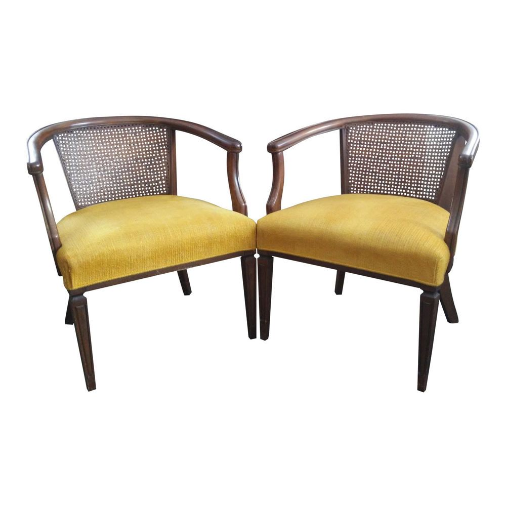 PAIR Vintage Barrel Back Cane Chairs HOLLYWOOD REGENCY Style # HollywoodRegency