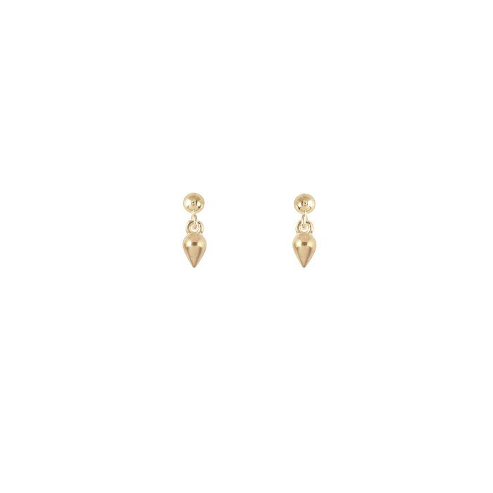 Tiny Yellow Gold Pear Shaped Teardrop Charm Studs | #gold #delicate #teardrop #pear #diamond #drop #charm #simple #minimal #layering #piercings #jewelry #studs #earrings #handmade #etsy #instaglam #jewelryaddict #lovegold #jewelryfashion