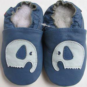 Chaussons souples Carozoo Eléphant bleu