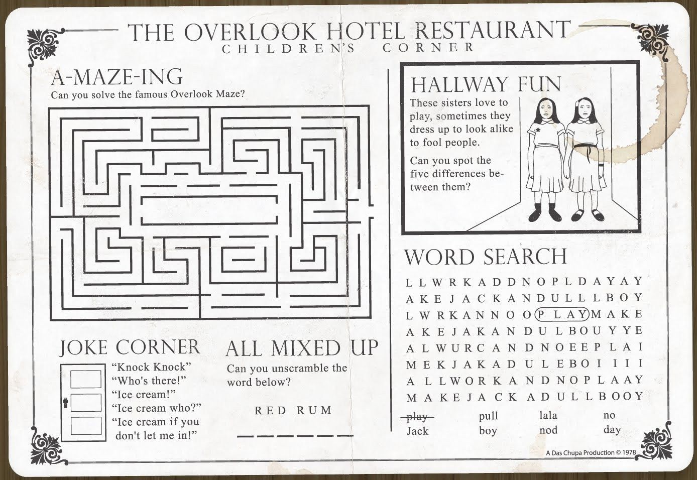 Overlook Restaurant Children S Menu Don T Their Great Kids Prices The Where Know Place In Corner