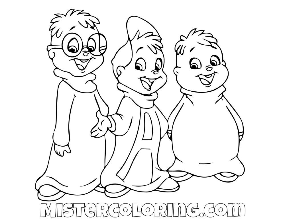 Simon Alvin And Theodore Alvin And The Chipmunks Coloring Pages