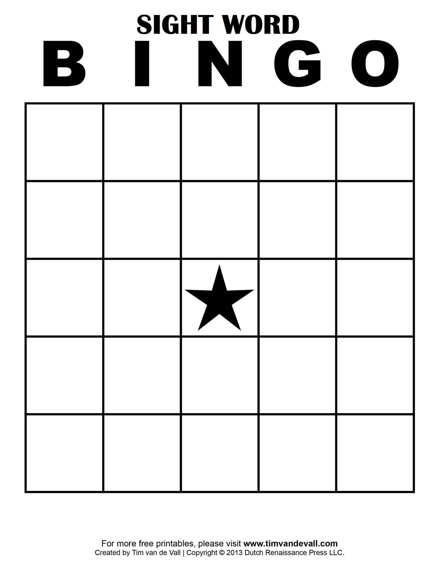 The Cool Sight Word Bingo