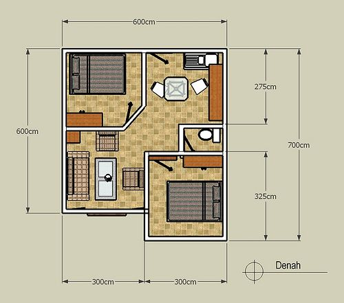 Denah Type 42 Small House Design Plans Home Building Design Small House Design