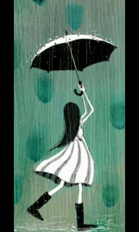 Niña Umbrella Art Dancing In The Rain Rain