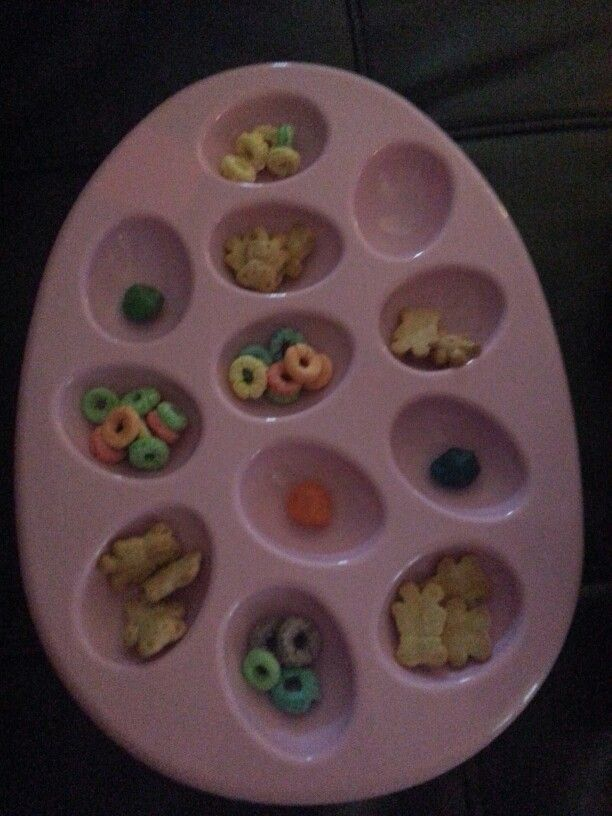 I used an egg tray and some snacks for hours of edible fun