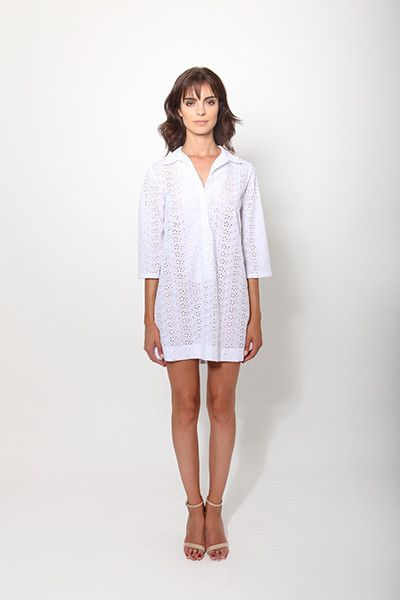 Broderie Anglais Tunic - White - Meiling