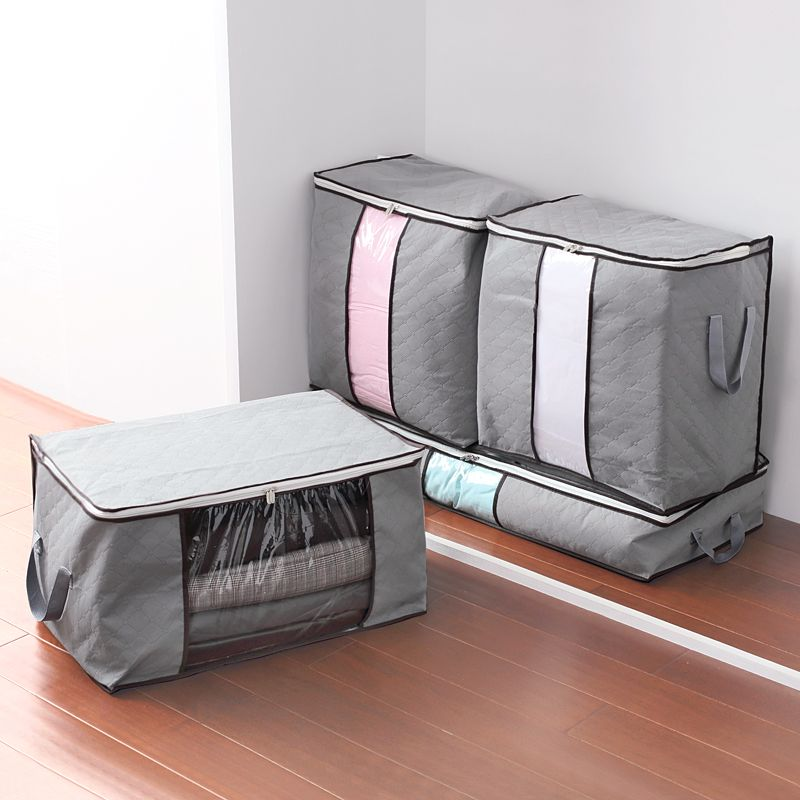 Attractive Gray M XL Size Foldable Storage Bag Clothes Blanket Pillow Quilt Closet  Sweater Box Pouch Organizer Wardrobe Helper 63992