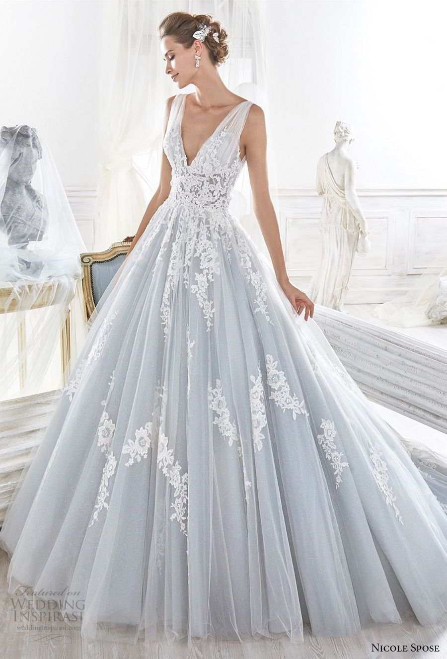 Nicole spose bridal sleeveless v neck heavily embellished
