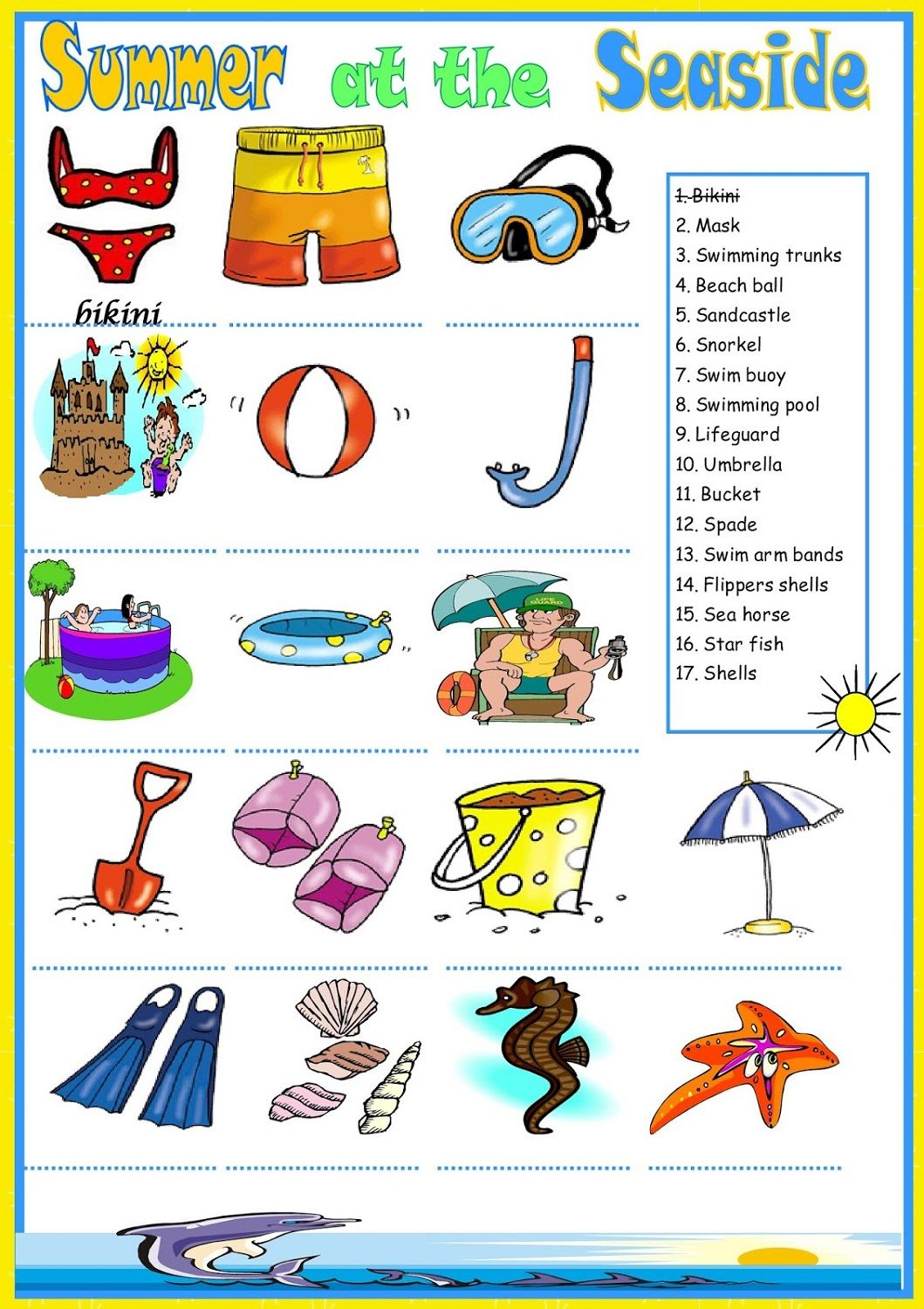 Kids Activity Worksheets Summer