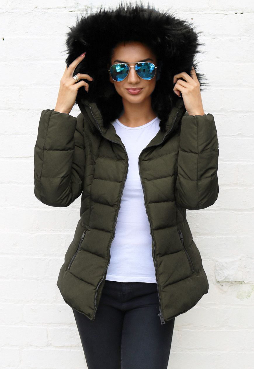 GLAMOROUS Boxy Short Padded Puffer Jacket with Fur Collar in Navy ...