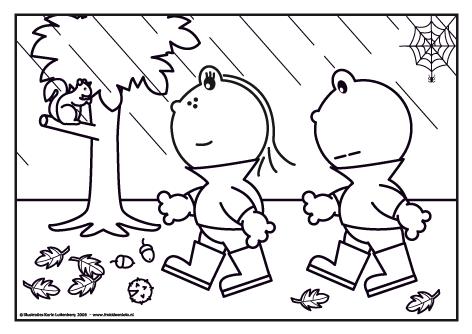 Quatang Gallery- Kleurplaat Het Is Herfst En De Bladeren Vallen Van De Bomen Het Regent Maar Dat Maakt Frokkie En Lola Niks Uit Laarzen Aan En Het Kleurplaten Thema Herfst