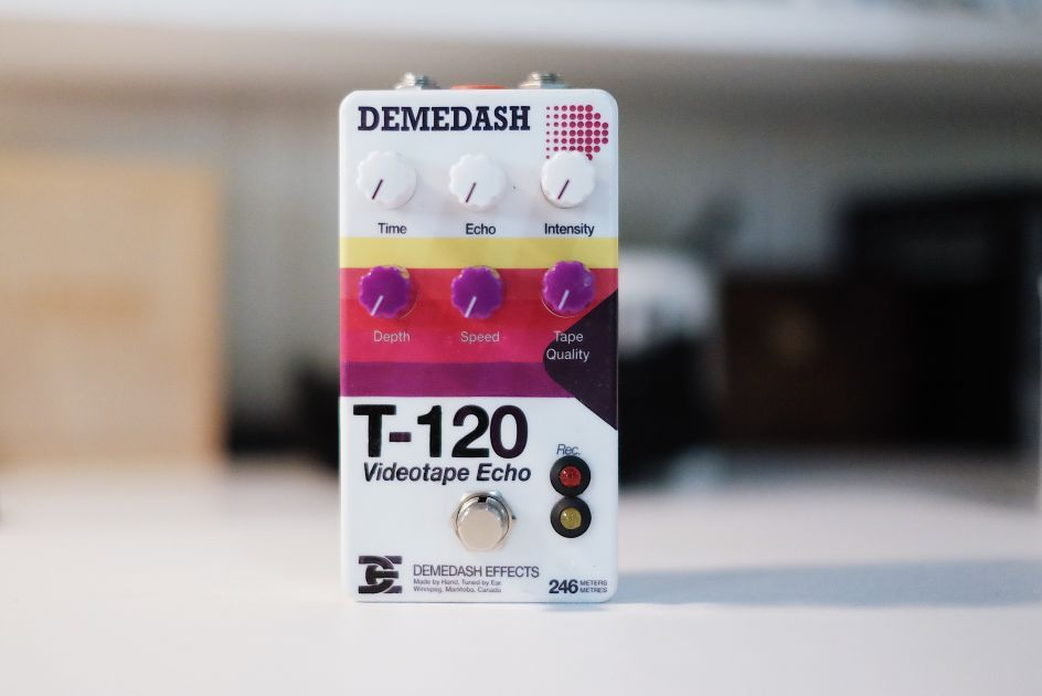Information on the Demedash Effects T120 Videotape Echo VHS delay effect guitar pedal #guitarpedals