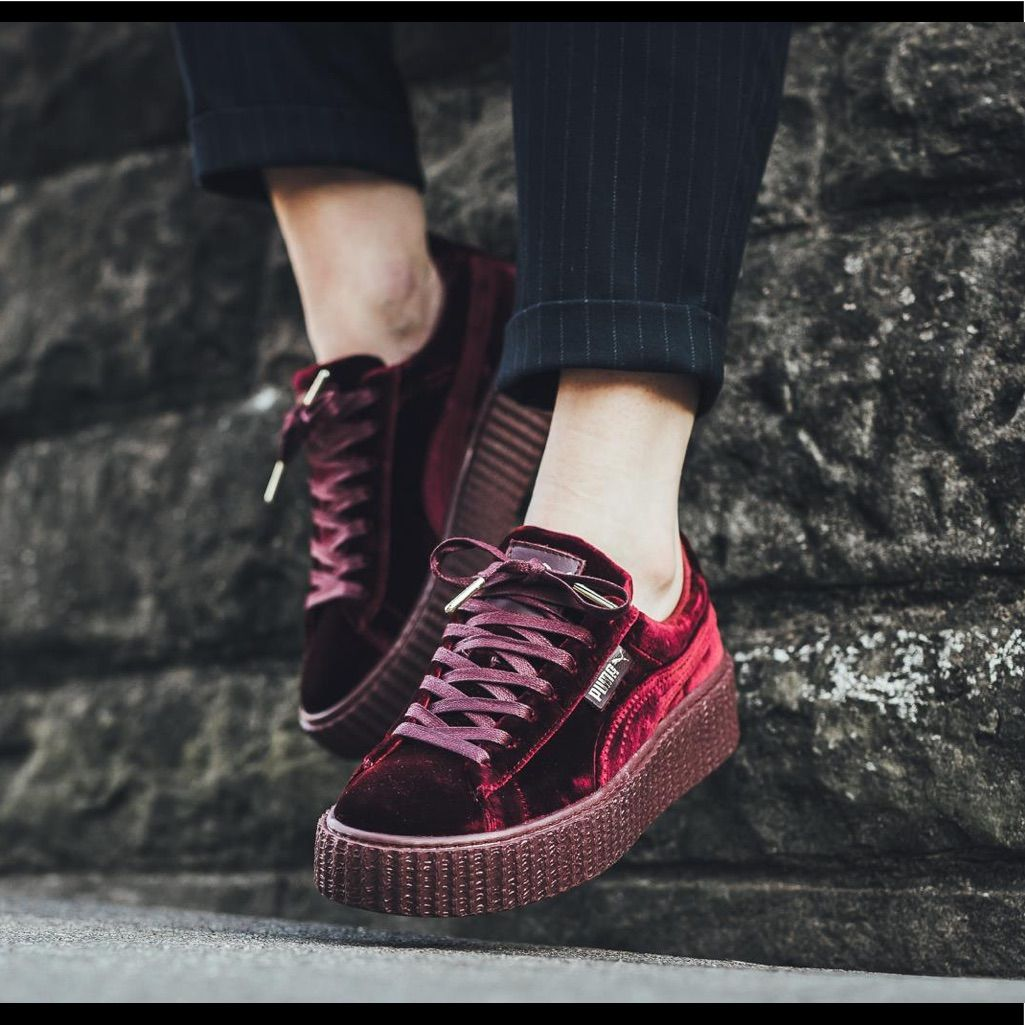 Puma Shoes | Puma By Rihanna Red Velvet Creeper Sneakers 6.5