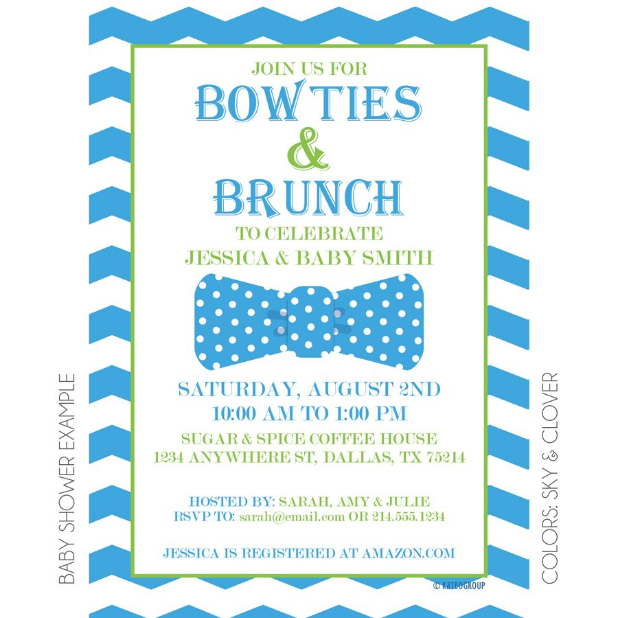 Bowties-&-Brunch-Invitation_Baby-Shower-Example | Baby Ruston is on ...