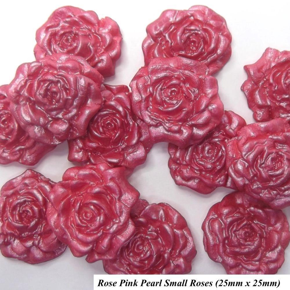 12 Rose Pink Pearl Sugar Roses wedding cake cupcake decorations 2 ...