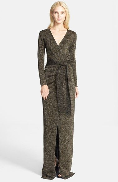 Free shipping and returns on Diane von Furstenberg 'Emma' Metallic Knit Wrap Dress at Nordstrom.com. A statuesque floor-skimming wrap dress is resplendent in a lush wool blend illuminated with sparkling metallic fibers.