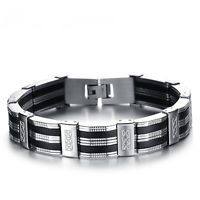 Herren Armband Edelstahl schwarz silber 21cm kürzbar Armreif Armkette Silikon **