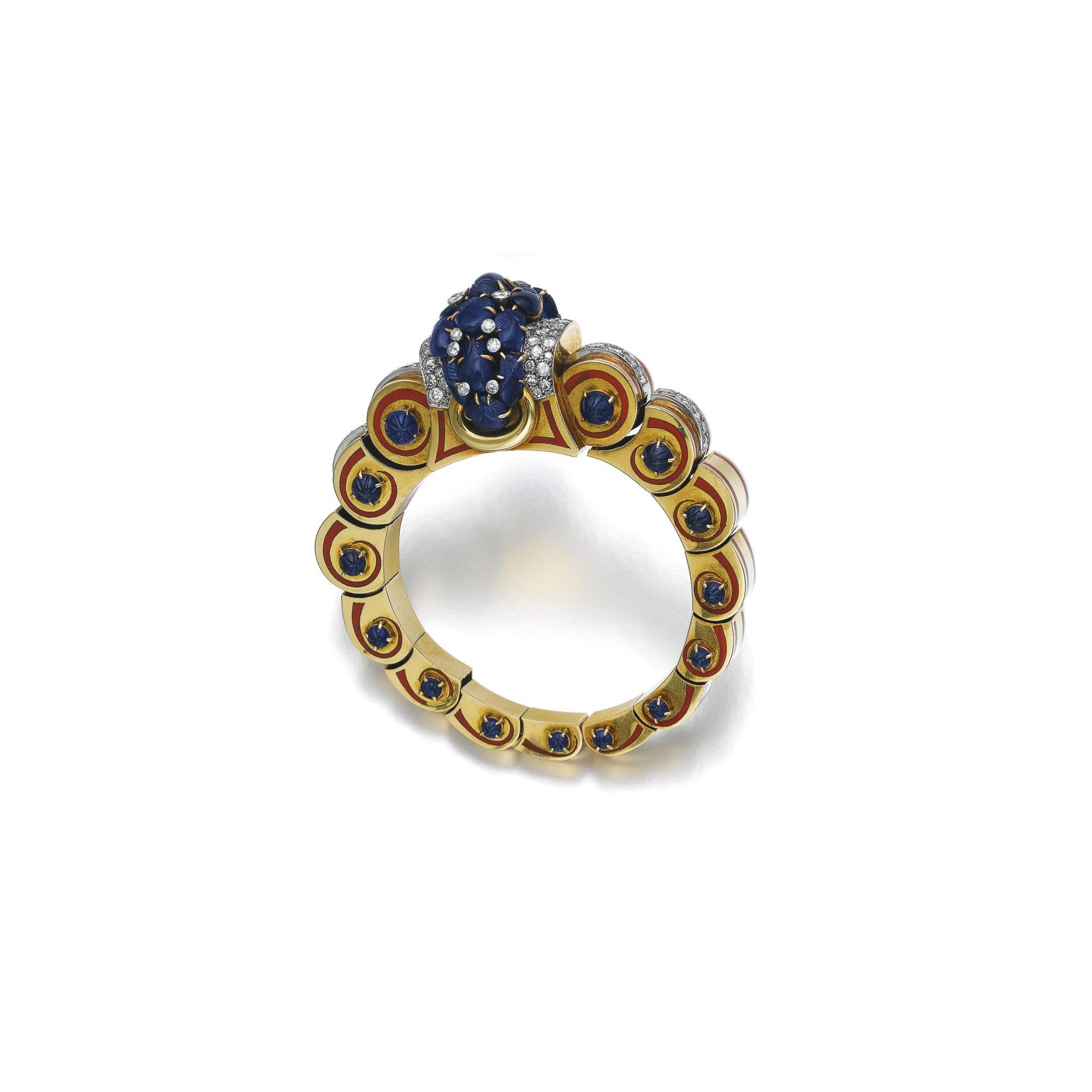 Sapphire, diamond, enamel and gold bangle, Jacques Lacloche, circa 1935   lot   Sotheby's