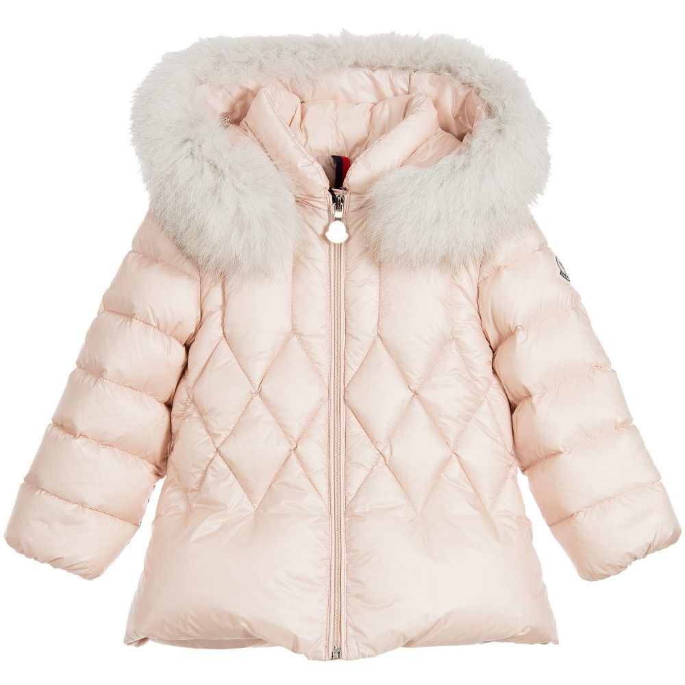 Baby Girls Pink Down Padded Coat with Fur Trim | Fur trim, Moncler ...
