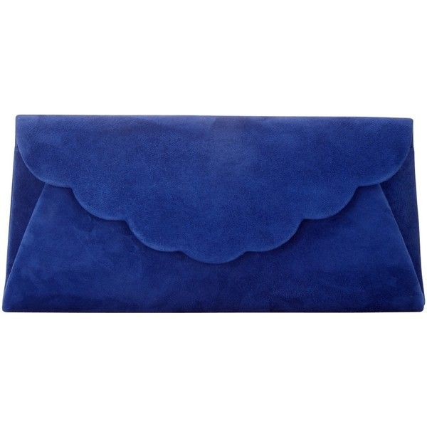 Phase Eight Bobbi Clutch Bag (€52) ❤ liked on Polyvore featuring bags, handbags, clutches, bondi blue, hand bags, blue clutches, blue evening purse, blue suede handbag and special occasion handbags