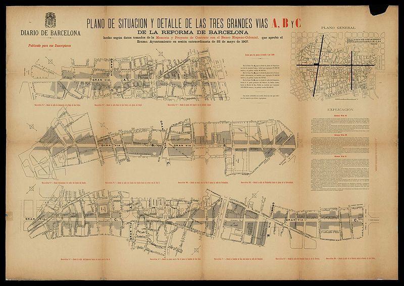 Plano tres grandes vías (1907) - Vía Layetana - Wikipedia, la enciclopedia libre