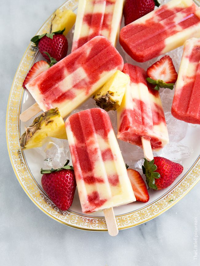 Lava Flow Popsicles (Pineapple Coconut Strawberry Swirl)