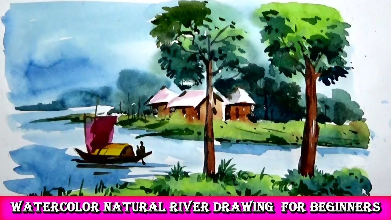 Watercolor Drawing Natural River For Beginners Watercolor