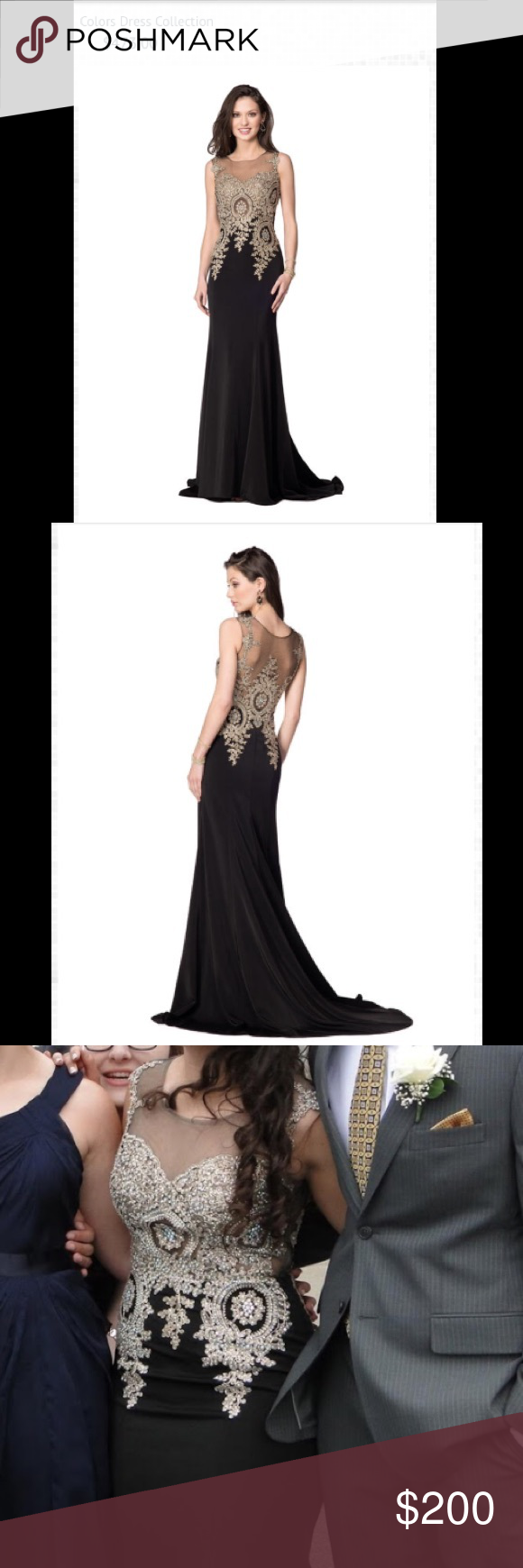 Colors prom dress black and gold worn once it was hemmed to fit me